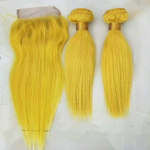 LETMESHINE Customized  Colored Hair Light Yellow Weave Bundles WITH 4*4 LACE CLOSURE OR 13*4 FRONTAL LACE CLOSURE - LetMeShine Hair