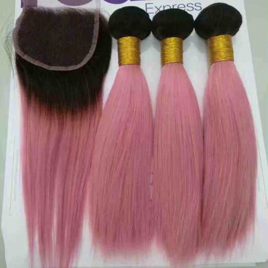 LETMESHINE Customized  Colored Hair Light Pink Weave Bundles WITH 4*4 LACE CLOSURE OR 13*4 FRONTAL LACE CLOSURE