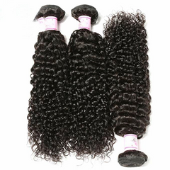 LETMESHINE JERRY CURLY HAIR WEAVE NATURAL COLOR 3 BUNDLES WITH 13*4 FRONTAL LACE CLOSURE 100% VIRGIN HUMAN HAIR - LetMeShine Hair