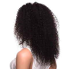 LETMESHINE 360 WIG Jerry Curly #1B NATURAL COLOR GLUELESS 100% HUMAN HAIR WIG - LetMeShine Hair