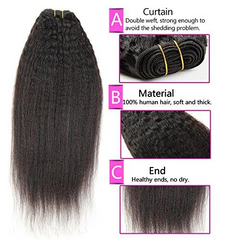 LETMESHINE KINKY STRAIGHT HAIR WEAVE NATURAL COLOR 3 BUNDLES WITH 13*4 FRONTAL LACE CLOSURE 100% VIRGIN HUMAN HAIR - LetMeShine Hair