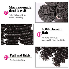 LETMESHINE LOOSE DEEP WAVE HAIR WEAVE NATURAL COLOR 3 BUNDLES WITH 13*4 FRONTAL LACE CLOSURE 100% VIRGIN HUMAN HAIR - LetMeShine Hair