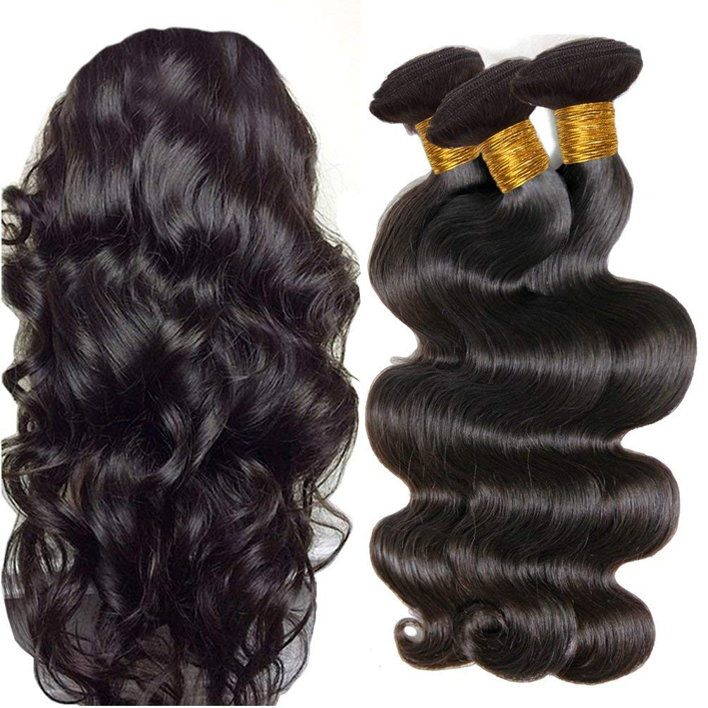 LETMESHINE 1B Natural Color Body Wave Unprocessed Virgin Human Hair Weave Single Bundle Remy Hair - LetMeShine Hair