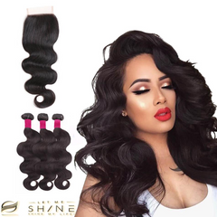 LETMESHINE Body wave Hair Weave Natural Color 3 Bundles With 4*4  Lace Closure 100% Virgin Human Hair - LetMeShine Hair