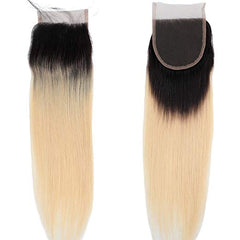 #1B/613 BLEACH BLOND OMBRE 4 BUNDLES WITH 4*4 CLOSURE STRAIGHT HUMAN HAIR WEAVE - LetMeShine Hair