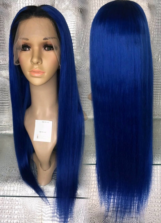 LETMESHINE  LACE WIG #DEEP BLUE COLOR GLUELESS 100% HUMAN HAIR WIG FRONTAL LACE WIG FULL LACE WIG 360 WIG - LetMeShine Hair