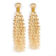 LETMESHINE #613 BLEACH BLOND COLOR DEEP WAVE VIRGIN HUMAN HAIR WEAVE - LetMeShine Hair