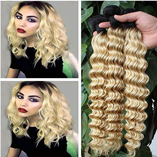 LETMESHINE #1B/613 BLEACH BLOND OMBRE COLOR DEEP WAVE VIRGIN HUMAN HAIR WEAVE - LetMeShine Hair