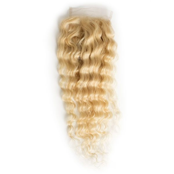 LETMESHINE #613 BLEACH BLONDE DEEP WAVE 4*4 OR 5*5 LACE CLOSURE THREE PART MIDDLE PART FREE PART 100% VIRGIN HUMAN HAIR - LetMeShine Hair