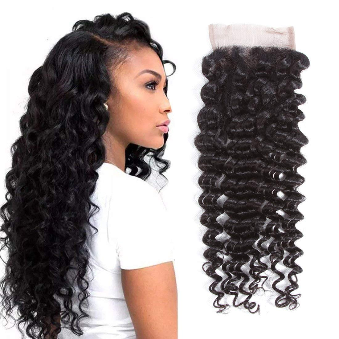 LETMESHINE DEEP WAVE 4*4 OR 5*5 LACE CLOSURE THREE PART MIDDLE PART FREE PART 100% VIRGIN HUMAN HAIR NATURAL COLOR - LetMeShine Hair