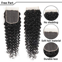 LETMESHINE DEEP WAVE Hair Weave Natural Color 3 Bundles With 4*4  Lace Closure 100% Virgin Human Hair - LetMeShine Hair