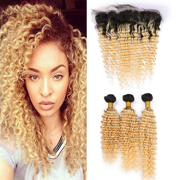 #1B/613 BLEACH BLOND 3 BUNDLES WITH 13*4 CLOSURE DEEP WAVE HUMAN HAIR WEAVE - LetMeShine Hair