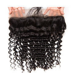 LETMESHINE Natural Color Deep Wave 13*4 or 13*6 Lace Frontal Three Part Middle Part And Free Part 100% Virgin Human Hair - LetMeShine Hair
