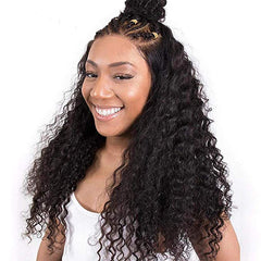 LETMESHINE Glueless Brazilian Virgin Hair Deep Wave Lace Front Wig Natural Black Color Human Hair Wig - LetMeShine Hair