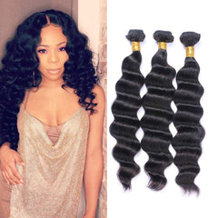 LETMESHINE HAIR SET 1B NATURAL COLOR  LOOSE DEEP WAVE UNPROCESSED VIRGIN HUMAN HAIR WEAVE - LetMeShine Hair
