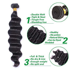 LETMESHINE HAIR SET 1B NATURAL COLOR  LOOSE DEEP WAVE UNPROCESSED VIRGIN HUMAN HAIR WEAVE