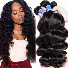 LETMESHINE HAIR SET 1B NATURAL COLOR LOOSE WAVE UNPROCESSED VIRGIN HUMAN HAIR WEAVE