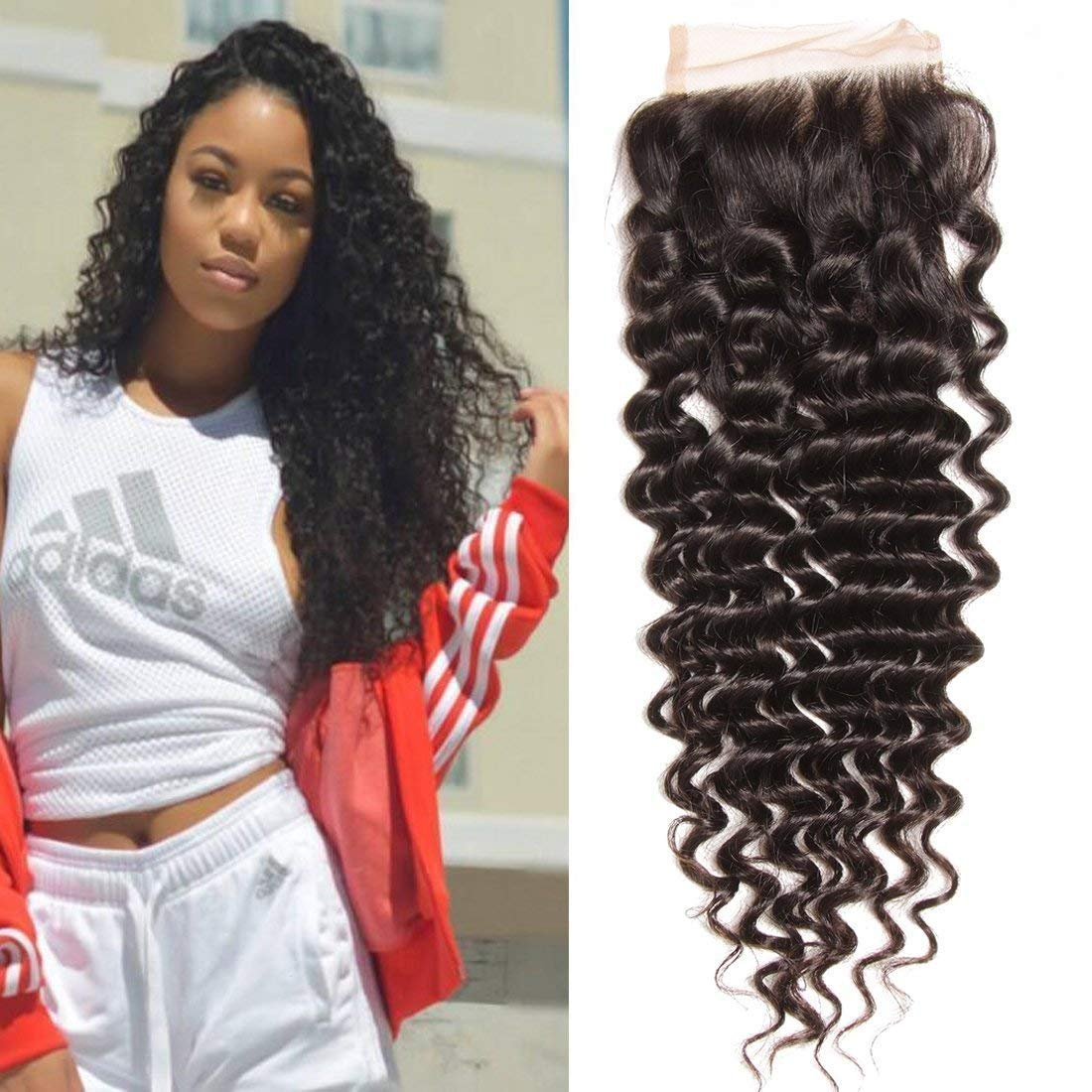 LETMESHINE JERRY CURLY 4*4 OR 5*5 LACE CLOSURE THREE PART MIDDLE PART FREE PART 100% VIRGIN HUMAN HAIR NATURAL COLOR
