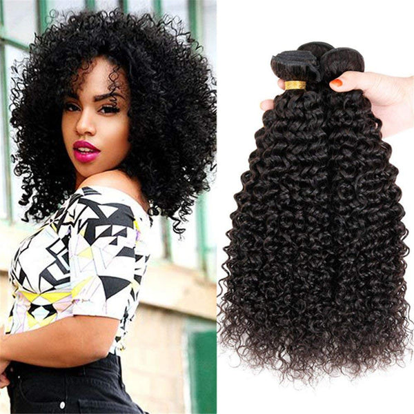 LETMESHINE 1B NATURAL COLOR JERRY CURLY UNPROCESSED VIRGIN HUMAN HAIR WEAVE SINGLE BUNDLE - LetMeShine Hair