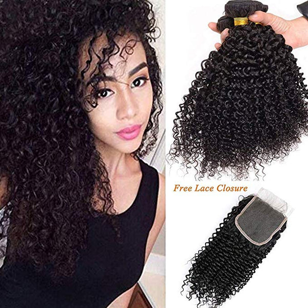 LETMESHINE JERRY CURLY Hair Weave Natural Color 3 Bundles With 4*4  Lace Closure 100% Virgin Human Hair - LetMeShine Hair