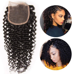 LETMESHINE KINKY CURLY 4*4 OR 5*5 LACE CLOSURE THREE PART MIDDLE PART FREE PART 100% VIRGIN HUMAN HAIR NATURAL COLOR