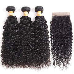 LETMESHINE KINKY CURLY Hair Weave Natural Color 3 Bundles With 4*4  Lace Closure 100% Virgin Human Hair - LetMeShine Hair