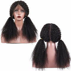 LETMESHINE Glueless Brazilian Virgin Hair Kinky Curly Full Lace Wig Natural Black Color Human Hair Wig