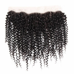 LETMESHINE NATURAL COLOR KINKY CURLY 13*4 OR 13*6 LACE FRONTAL THREE PART MIDDLE PART AND FREE PART 100% VIRGIN HUMAN HAIR