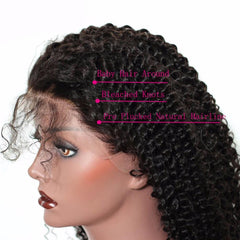LETMESHINE 360 WIG KINKY CURLY #1B NATURAL COLOR GLUELESS 100% HUMAN HAIR WIG - LetMeShine Hair