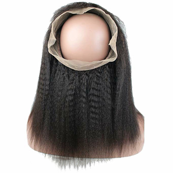 LETMESHINE 360 Lace Frontal Natural Color Kinky Straight 100% Virgin Human Hair - LetMeShine Hair