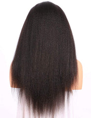 LETMESHINE 360 WIG KINKY STRAIGHT #1B NATURAL COLOR GLUELESS 100% HUMAN HAIR WIG - LetMeShine Hair