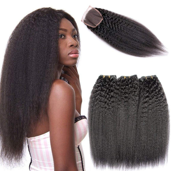 LETMESHINE KINKY STRAIGHT Hair Weave Natural Color 3 Bundles With 4*4  Lace Closure 100% Virgin Human Hair - LetMeShine Hair