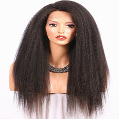 LETMESHINE FULL LACE WIG KINKY STRAIGHT NATURAL COLOR GLUELESS 100% HUMAN HAIR WIG - LetMeShine Hair