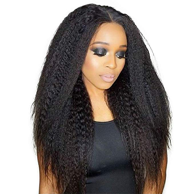 LETMESHINE FRONTAL LACE WIG KINKY STRAIGHT NATURAL COLOR GLUELESS 100% HUMAN HAIR WIG LACE FRONT 13*4 OR 13*6 - LetMeShine Hair