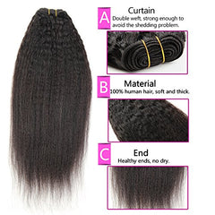 LETMESHINE HAIR SET 1B NATURAL COLOR KINKY STRAIGHT UNPROCESSED VIRGIN HUMAN HAIR WEAVE