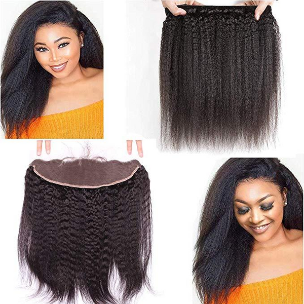 LETMESHINE YAKI STRAIGHT HAIR WEAVE NATURAL COLOR 3 BUNDLES WITH 13*4 FRONTAL LACE CLOSURE 100% VIRGIN HUMAN HAIR - LetMeShine Hair
