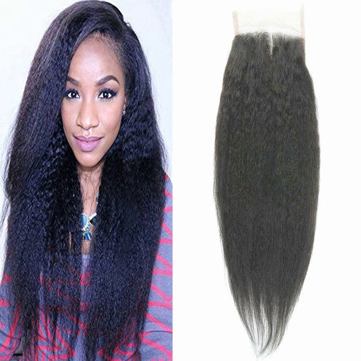 LETMESHINE KINKY STRAIGHT 4*4 OR 5*5 LACE CLOSURE THREE PART MIDDLE PART FREE PART 100% VIRGIN HUMAN HAIR NATURAL COLOR