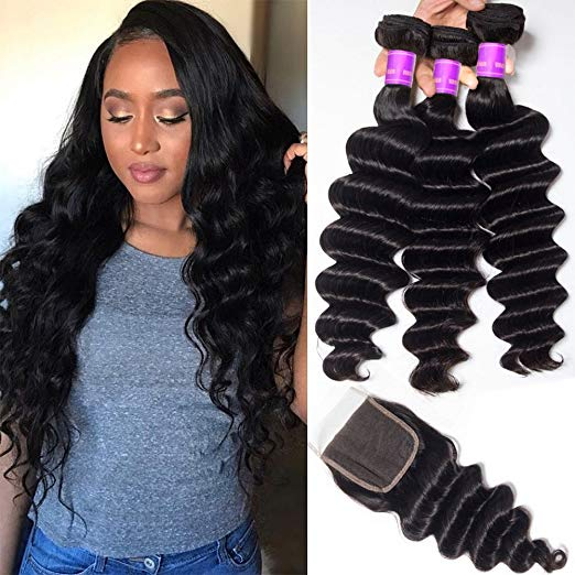 LETMESHINE LOOSE DEEP WAVE Hair Weave Natural Color 3 Bundles With 4*4  Lace Closure 100% Virgin Human Hair - LetMeShine Hair