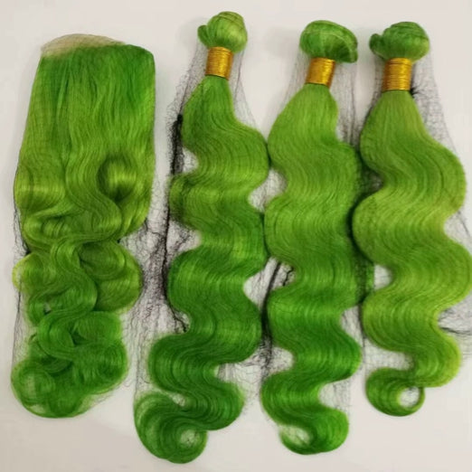 LETMESHINE Customized  Colored GREEN Hair Weave Bundles WITH 4*4 LACE CLOSURE OR 13*4 FRONTAL LACE CLOSURE