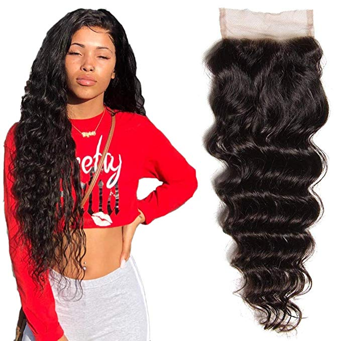LETMESHINE LOOSE DEEP WAVE 4*4 OR 5*5 LACE CLOSURE THREE PART MIDDLE PART FREE PART 100% VIRGIN HUMAN HAIR NATURAL COLOR - LetMeShine Hair