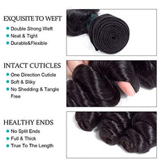 LETMESHINE LOOSE WAVE Hair Weave Natural Color 3 Bundles With 4*4  Lace Closure 100% Virgin Human Hair - LetMeShine Hair