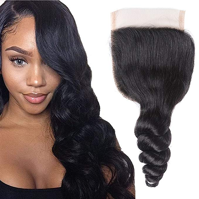 LETMESHINE LOOSE WAVE 4*4 OR 5*5 LACE CLOSURE THREE PART MIDDLE PART FREE PART 100% VIRGIN HUMAN HAIR NATURAL COLOR - LetMeShine Hair