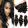 LETMESHINE LOOSE WAVE HAIR WEAVE NATURAL COLOR 3 BUNDLES WITH 13*4 FRONTAL LACE CLOSURE 100% VIRGIN HUMAN HAIR - LetMeShine Hair