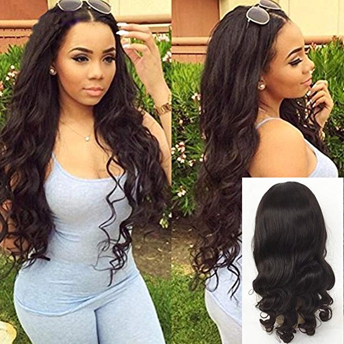 LETMESHINE Glueless Brazilian Virgin Hair Loose Wave Full Lace Wig Natural Black Color Human Hair Wig