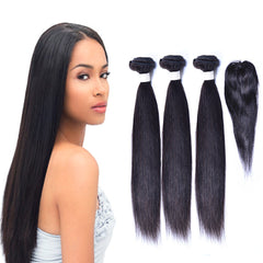 Multi Pack -3 Bundles & 1 Small Closure, Human Natural Virgin Hair, Straight - LetMeShine Hair