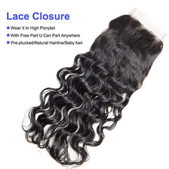 LETMESHINE NATURAL WAVE 4*4 OR 5*5 LACE CLOSURE THREE PART MIDDLE PART FREE PART 100% VIRGIN HUMAN HAIR NATURAL COLOR - LetMeShine Hair