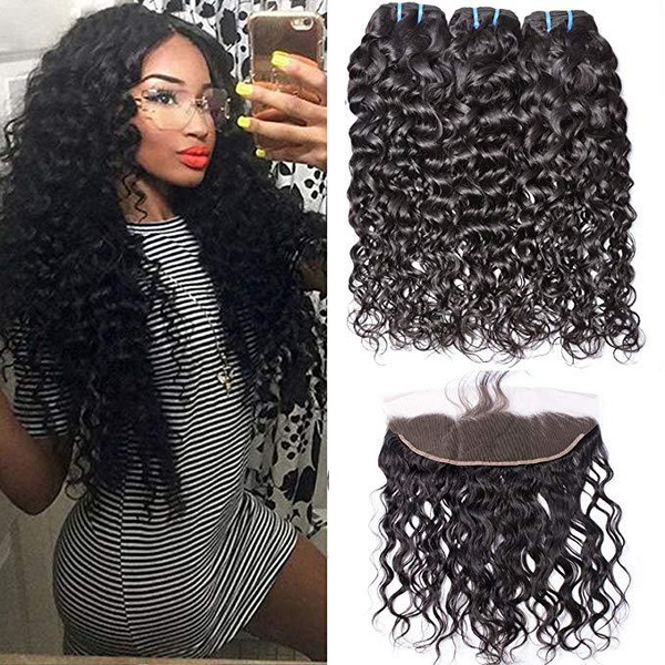 LETMESHINE NATURAL WAVE HAIR WEAVE NATURAL COLOR 3 BUNDLES WITH 13*4 FRONTAL LACE CLOSURE 100% VIRGIN HUMAN HAIR - LetMeShine Hair