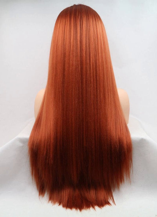 LETMESHINE  LACE WIG #DARK ORANGE COLOR GLUELESS 100% HUMAN HAIR WIG FRONTAL LACE WIG FULL LACE WIG 360 WIG - LetMeShine Hair