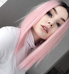 LETMESHINE BOB WIG FRONTAL LACE WIG STRAIGHT PINK COLOR OR #1B/PINK GLUELESS 100% HUMAN HAIR WIG - LetMeShine Hair