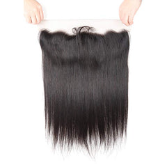 LETMESHINE Natural Color Straight 13*4 or 13*6 Lace Frontal Three Part Middle Part And Free Part 13*4 Lace Closure 100% Virgin Human Hair